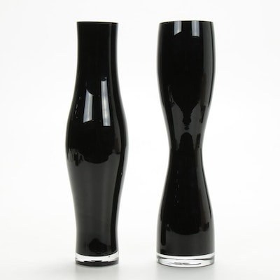 Pair of Blown Jet Glass Nesting Vases, Contemporary