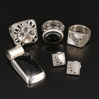 Sterling Silver Jewelry Featuring Lois Hill Ring and Earring Set