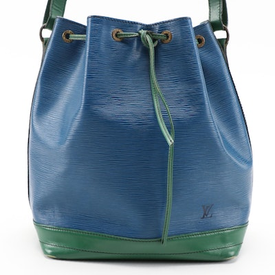 Louis Vuitton Noé Drawstring Bucket Bag in Blue Epi Leather and Green Leather