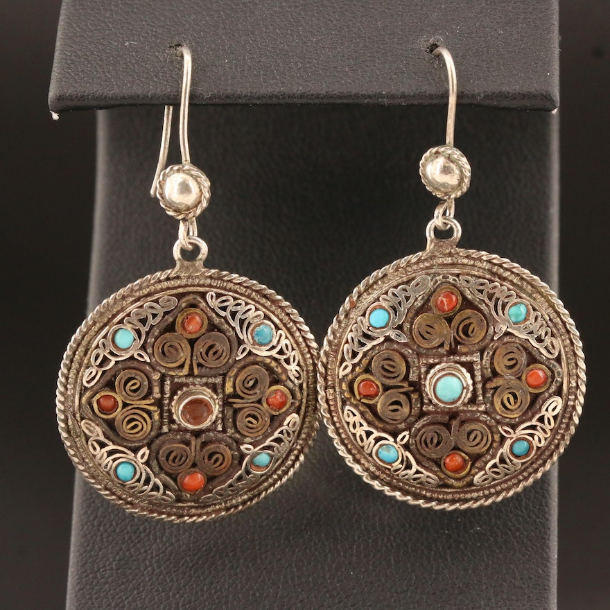 Sterling Silver Coral and Turquoise Earrings Featuring Scrolled Wirework Design