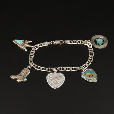 Vintage Charm Bracelet with Turquoise and Enamel Accents