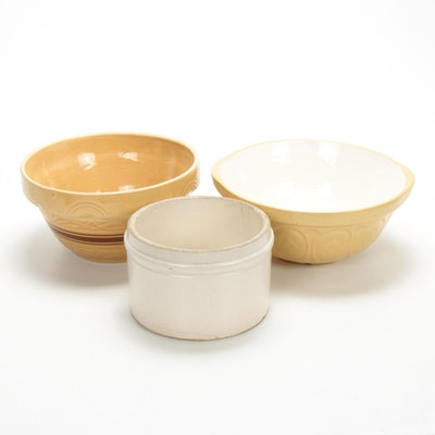 "T.G. Green ""Gripstand"", Yellow Ware Mixing Bowls and Crock"