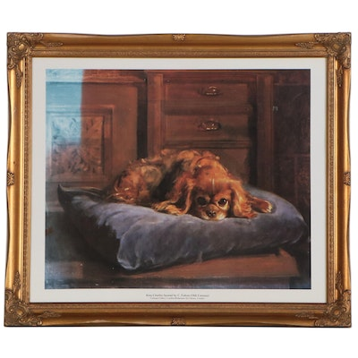 "Offset Lithograph after C. Fulton ""King Charles Spaniel,"" Late 20th Century"