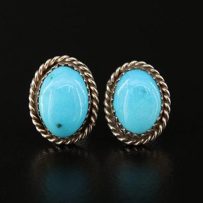 Western Sterling Turquoise Oval Stud Earrings
