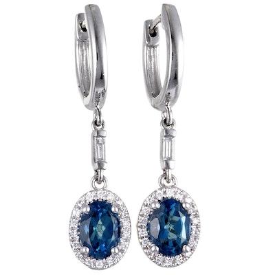 14K White Gold Diamond and London Topaz Oval Dangle Snap Earrings