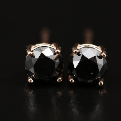 14K 0.75 CTW Black Diamond Stud Earrings