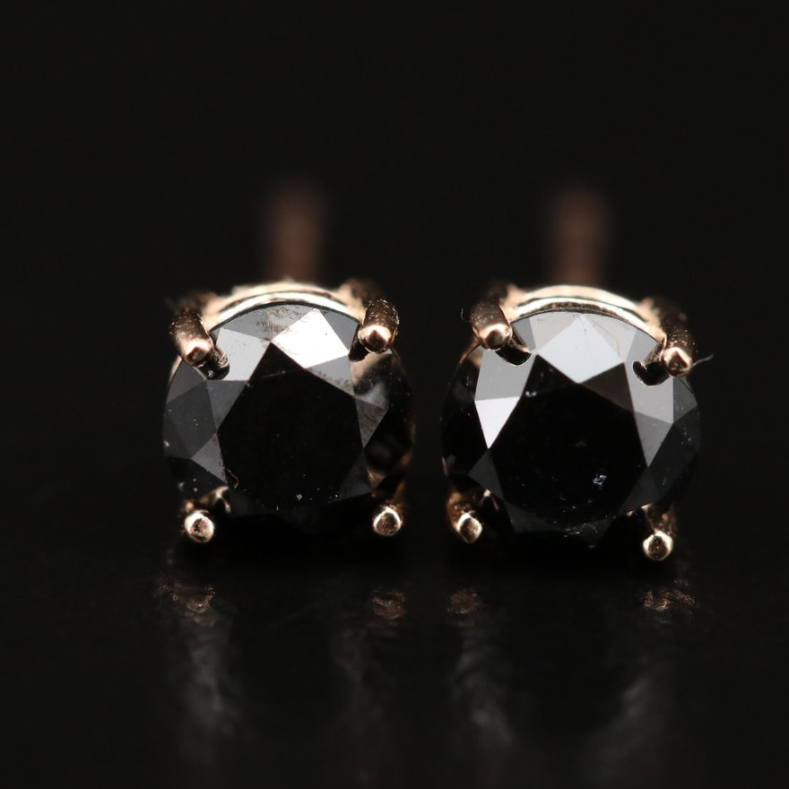 14K 0.75 CTW Black Diamond Stud Earrings