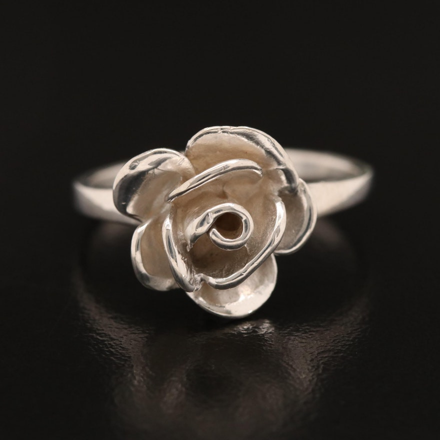 Sterling Silver Rose Bloom Ring