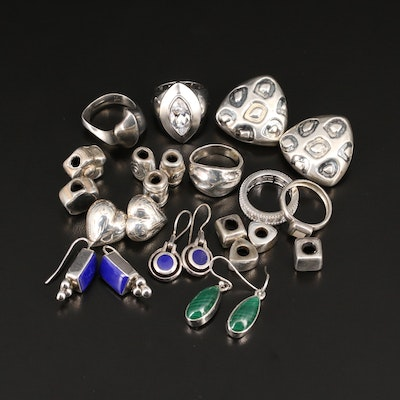 Sterling Assorted Jewelry Featuring Simon Sebbag with  Malachite, Resin and More