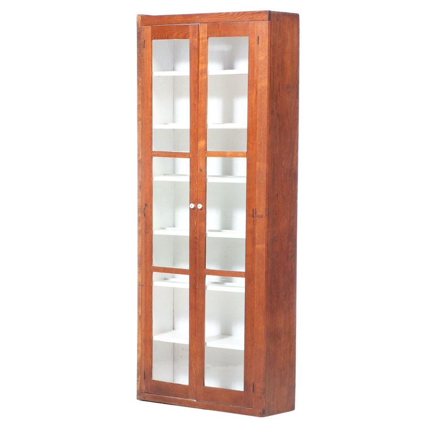 Oak and Mixed Wood Glazed Two-Door Cabinet, Early to Mid 20th Century