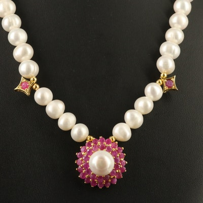 Sterling Silver Pearl and Corundum Necklace