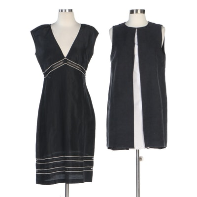 Rachel Zoe and Tocca Box Pleat Shift and Silk Linen V-Neck Dresses
