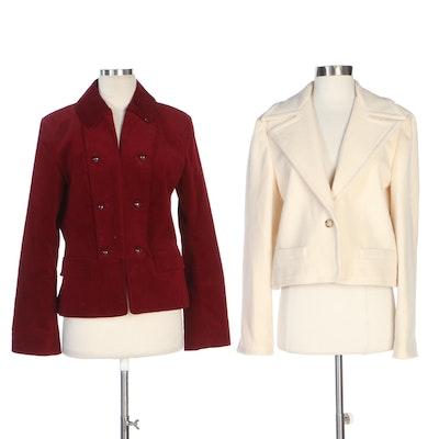 Lauren Ralph Lauren White Wool Jacket and Talbots Red Velveteen Jacket