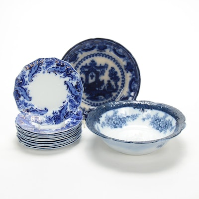 """T.J & J  Mayer """"Oregon"""" and Other English Flow Blue Tableware, Antique"""