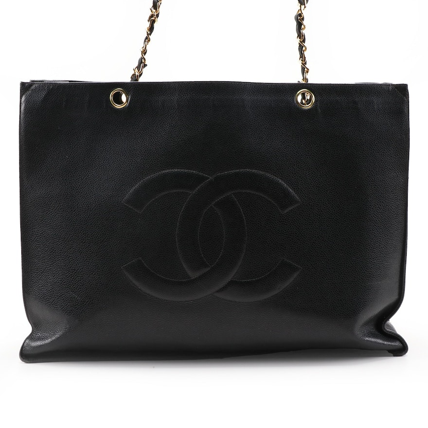 Chanel CC Shopping Tote in Black Caviar Leather