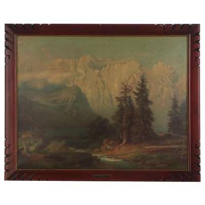 "Offset Lithograph after August Leu ""Mountain Majesty,""20th Century"