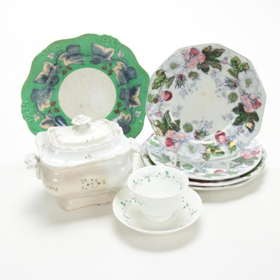 English Pearlware and Other Hand-Painted Transferware Plates, Early-Mid 19th C.