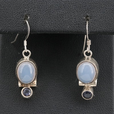 Sterling Silver Chalcedony and Iolite Drop Earrings