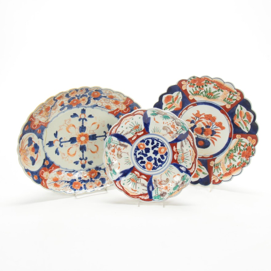 Japanese Imari Platters and Plates, Antique