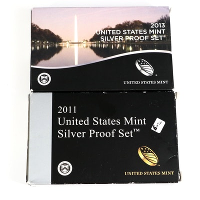 2011 and 2013 U.S. Mint Silver Proof Sets