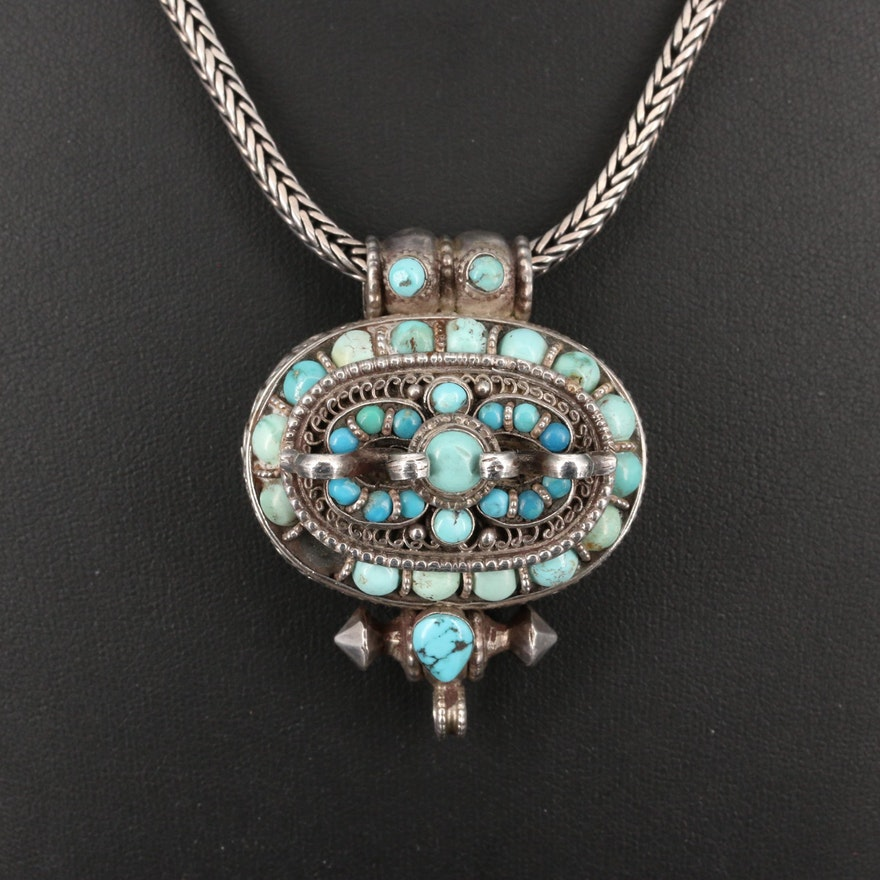 Tibetan Style Sterling Silver Turquoise Ghau Prayer Box Necklace