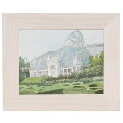 Marcus Brewer Watercolor Painting of Franklin Park Conservatory in Columbus, OH