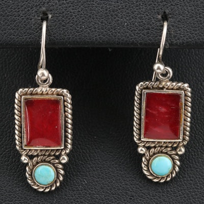 Sterling Turquoise and Quartz Dangle Earrings with Cable Detail