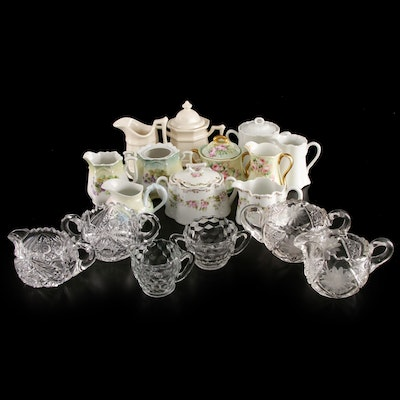 Fostoria and Other Glass and Porcelain Cream and Sugar Sets, Mid-20th C.