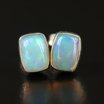 Sterling Silver Opal Oval Shaped Stud Earrings
