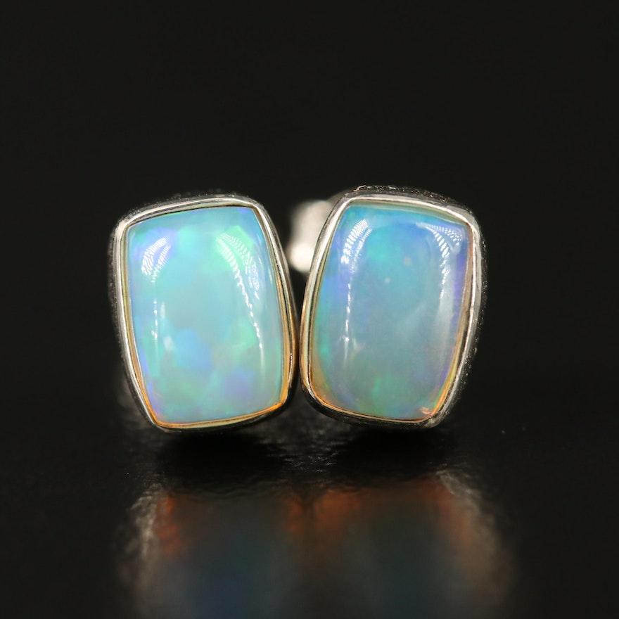 Sterling Silver Opal Oval Shaped Stud Earrings