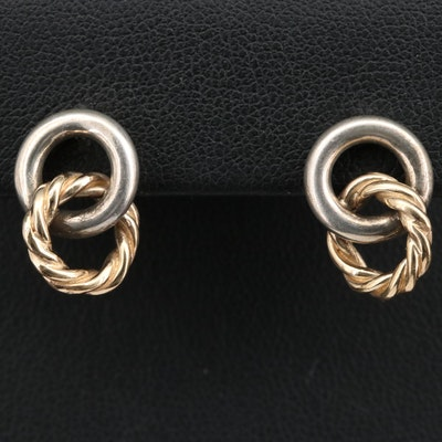 Sterling Silver Link Motif Earrings with 14K Accents