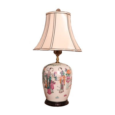 Converted Antique Famille Rose Ginger Jar Table Lamp