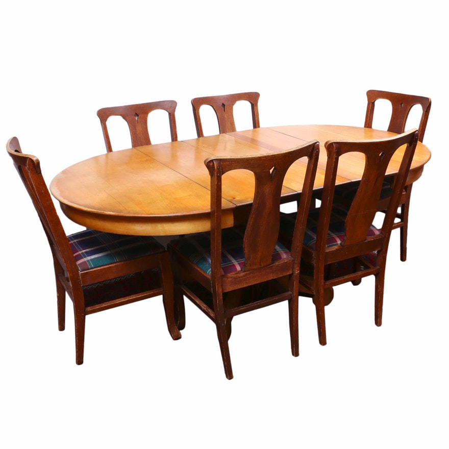 American Empire Style Maple Pedestal Dining Room Table, and Six Oak Chairs