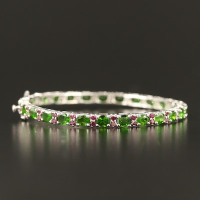 Sterling Silver Diopside and Garnet Hinged Bangle
