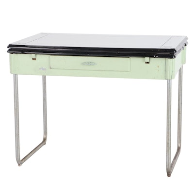 Enamel Top Expanding Kitchen Table with Drawer, 1940's