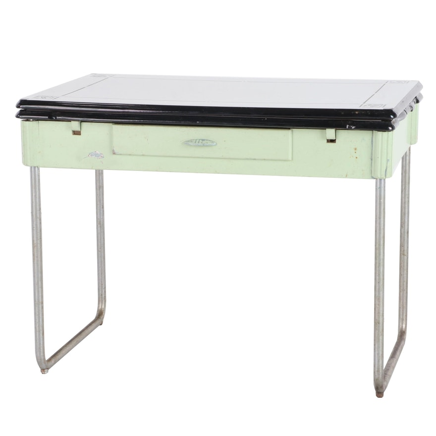 Enamel Top Expanding Kitchen Table With Drawer 1940 S Ebth
