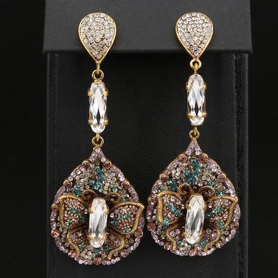 T Arrigoni Glass Butterfly Motif Drop Earrings