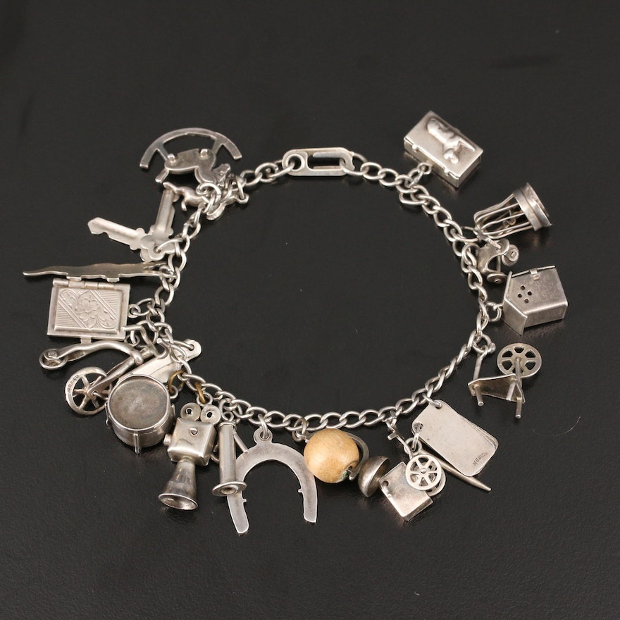 Sterling Silver Charm Bracelet Including Horseshoe and Movie Camera