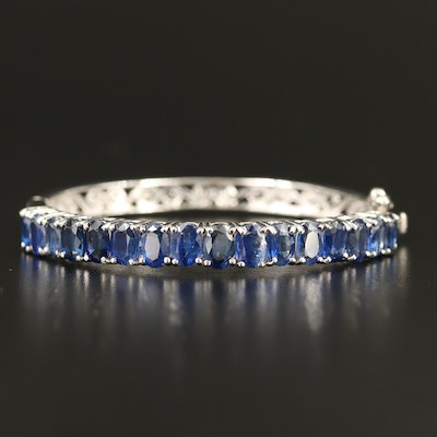 Sterling Silver Kyanite Hinged Bangle