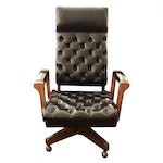 Button Tufted Leather Swivel Executive Arm Chair
