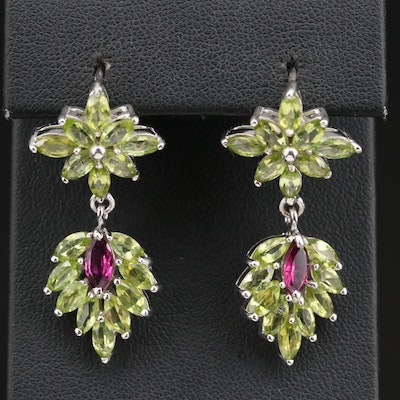 Sterling Silver Garnet and Peridot Dangle Earrings