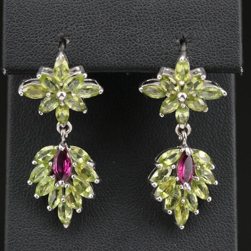 Sterling Silver Garnet and Peridot Dangle Earrings