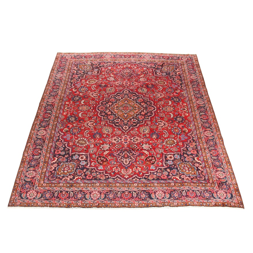 9'8 x 12'6 Hand-Knotted Persian Mashad Rug, 1970s
