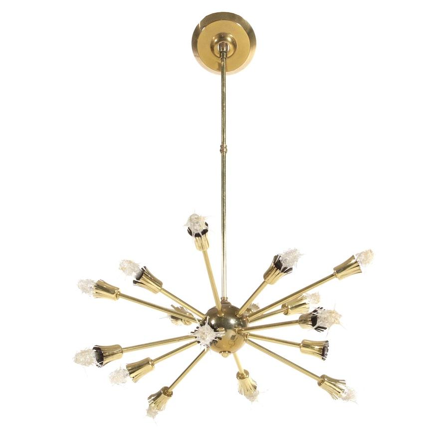 Mid Century Modern Brass Starburst Sixteen Arm Chandelier