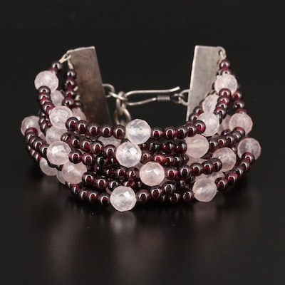 Sterling Rose Quartz and Rhodolite Garnet Multi-Strand Bracelet
