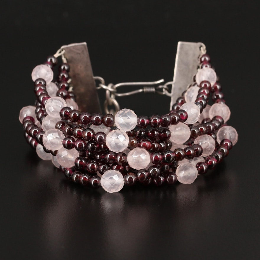 Sterling Rose Quartz and Rhodolite Garnet Multi-Strand Bracelet