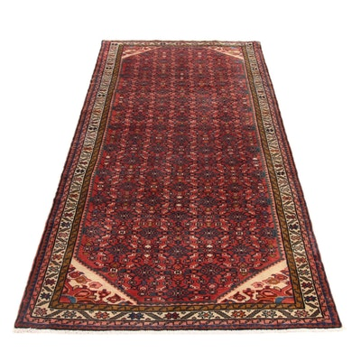 3'10 x 9'8 Hand-Knotted Persian Mahal Runner, 1970s