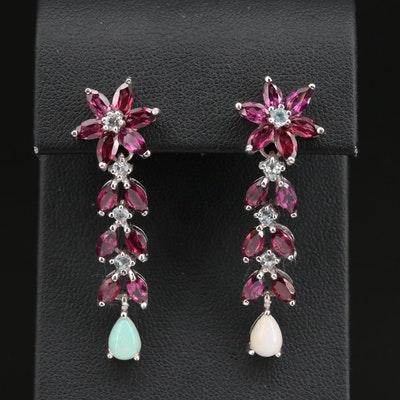 Sterling Silver Garnet, Aquamarine and Opal Dangle Earrings with Floral Design