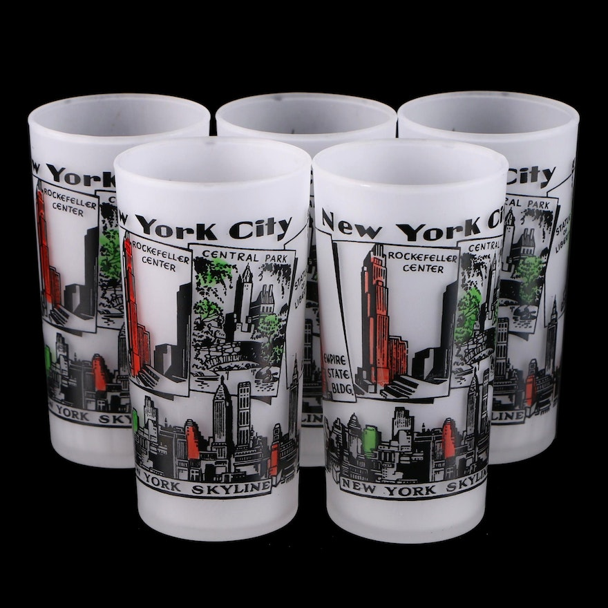 Set of  Frosted Highball Glasses with New York City Motif