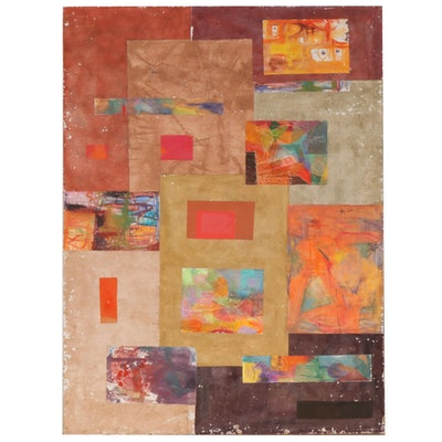 Fred Lyman Abstract Mixed Media Collage Painting